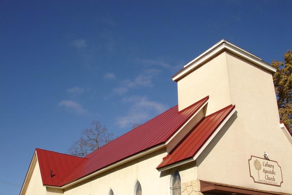 Standing seam sheet metal roofing colonial regal red commercial church wisconsin calvary apostolic minnesota iowa illinois north dakota