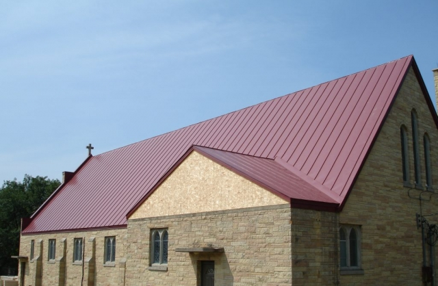 Standing seam sheet metal roofing colonial red maroon commercial church wisconsin minnesota illinois iowa north dakota
