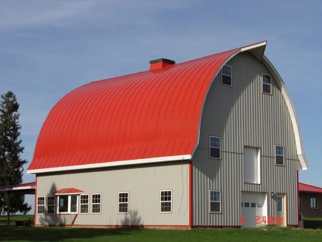 double lock Standing seam sheet metal roofing regal red gothic barn agricultural culpitt wisconsin iowa illinois minnesota north dakota
