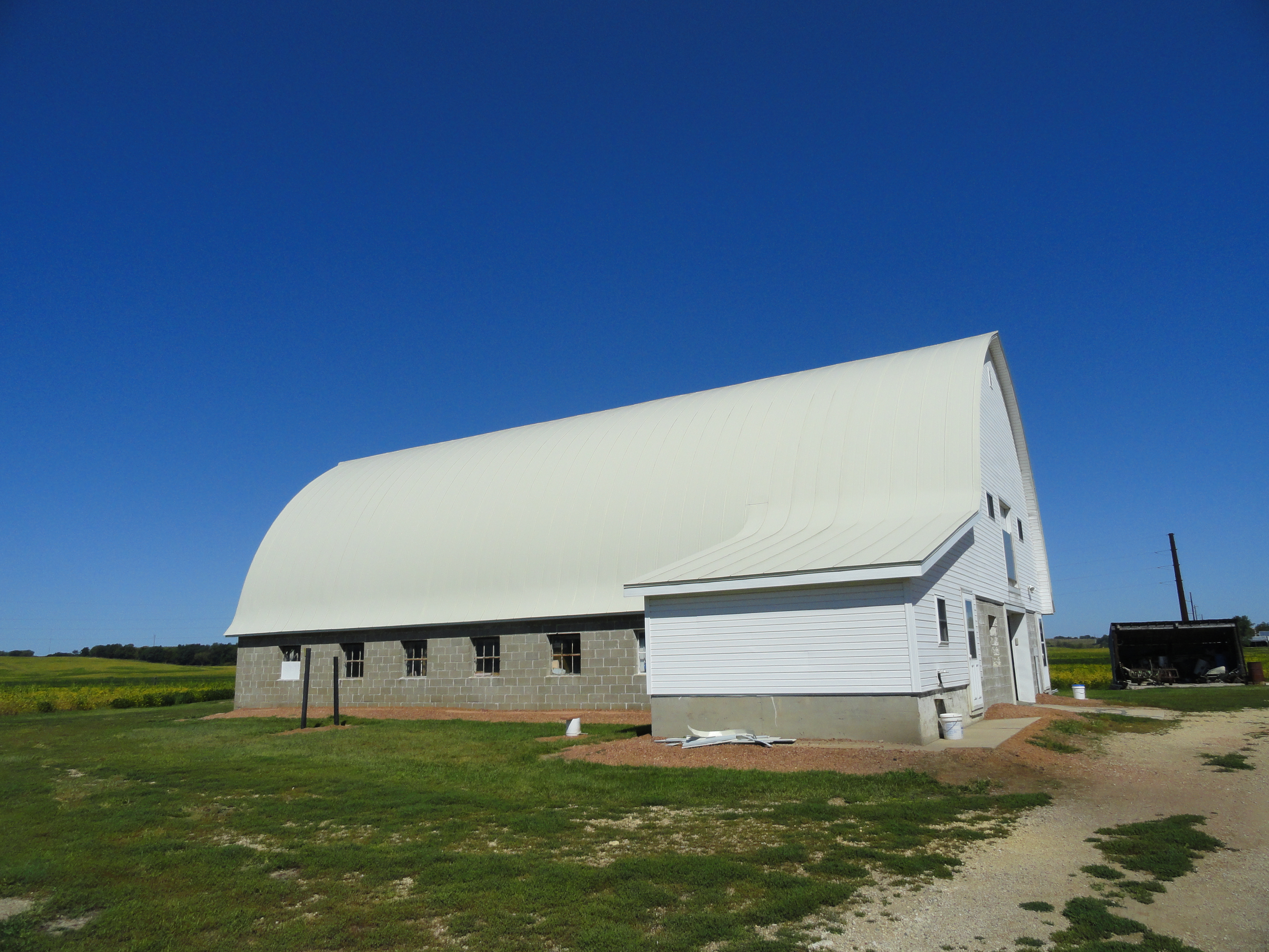 gothic barn standing seam metal roofing white