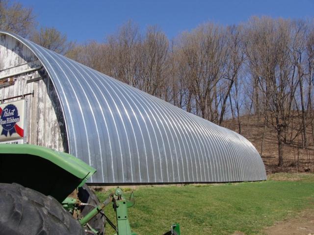 Quonset barn silver galvanized double lock standing seam sheet metal roofing agricultural culpitt wisconsin minnesota iowa illinois north dakota