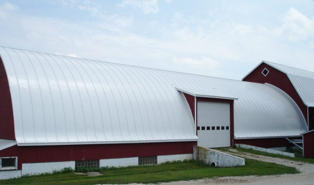 barn gothic hip white standing seam metal roofing