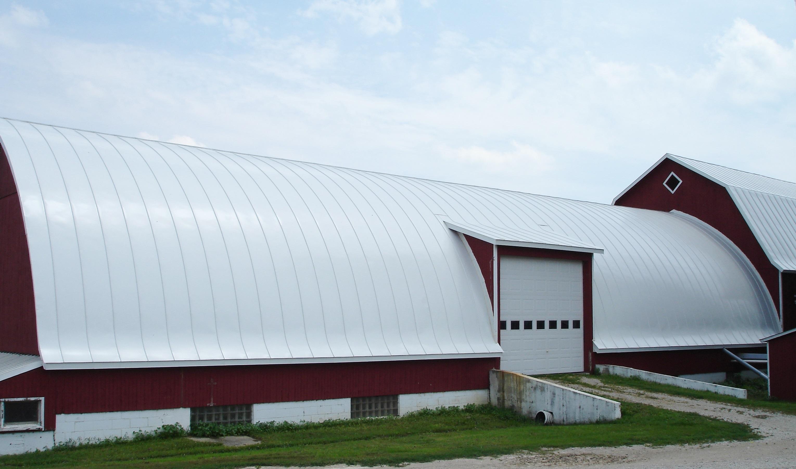 barn gothic hip bright white silver galvanized standing seam sheet metal roofing agricultural culpitt wisconsin illinois minnesota iowa north dakota