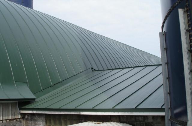 dark sherwood green gothic barn agricultural double lock standing seam sheet metal roofing culpitt wisconsin iowa illinois minnesota north dakota