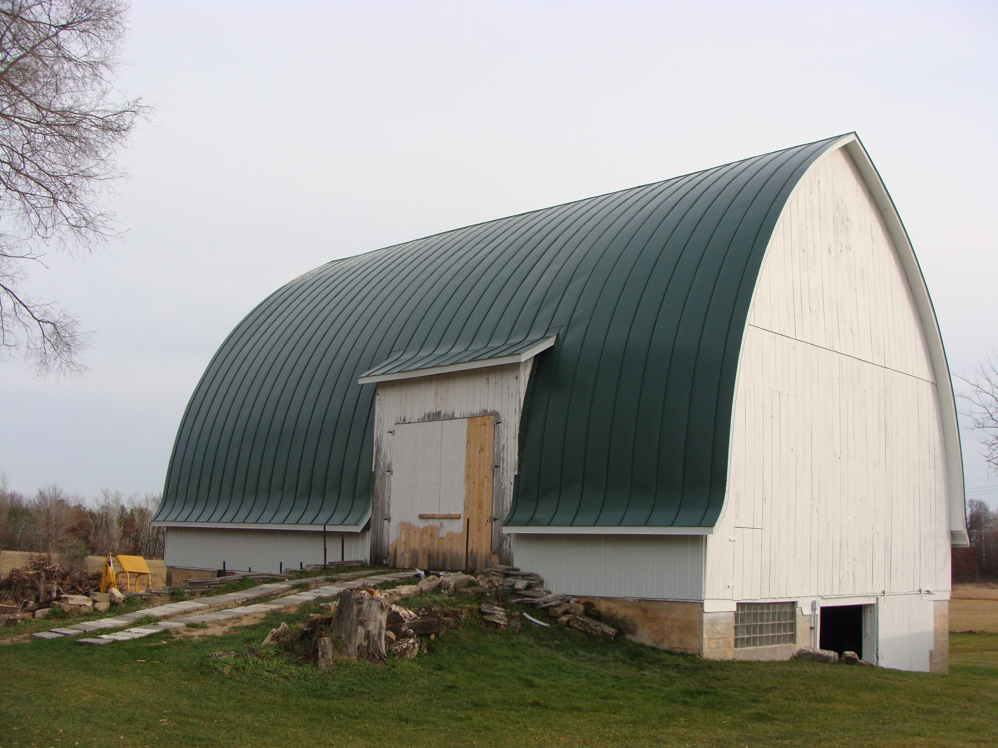 gothic barn green standing seam metal roof