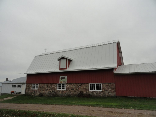 hip barn bone white standing seam sheet metal roofing agricultural culpitt wisconsin minnesota iowa illinois north dakota