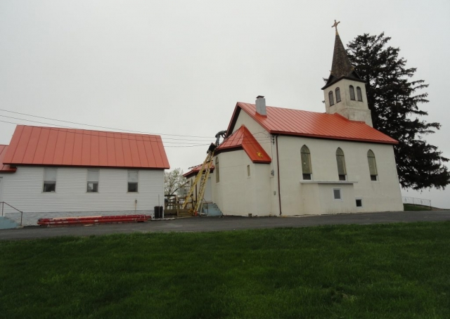 Standing seam metal roofing sheet church commercial regal colonial red orange wisconsin minnesota illinois iowa north dakota