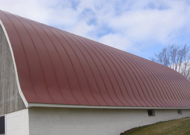 Quonset barn agricultural double lock standing seam sheet metal roofing dark colonial red culpitt wisconsin iowa illinois minnesota north dakota