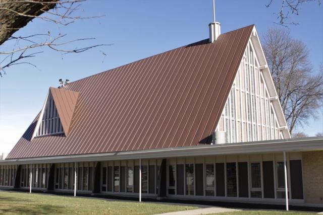 standing seam sheet metal roofing culpitt light brown classic copper commercial church wisconsin minnesota illinois iowa north dakota