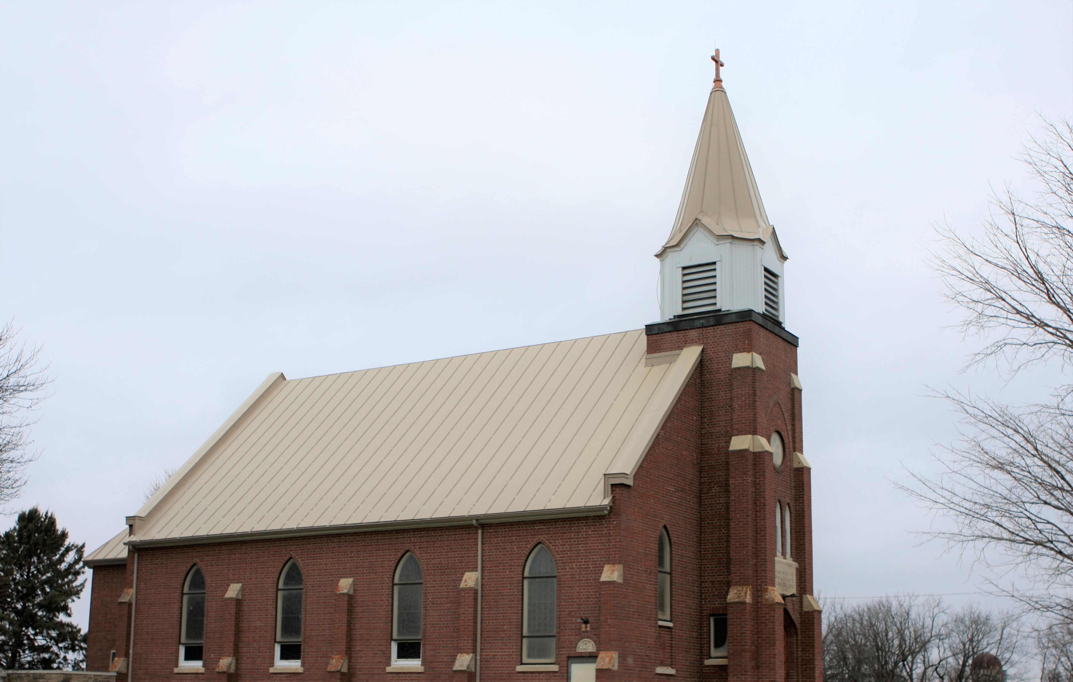 Standing seam sheet metal roofing church commercial light brown sierra tan wisconsin minnesota illinois iowa north dakota