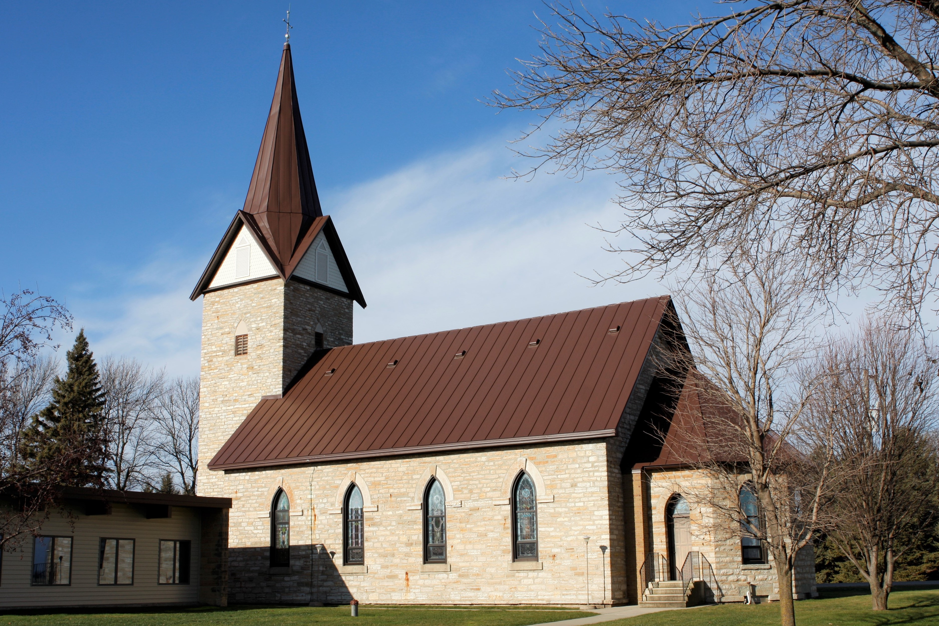 Standing seam sheet metal roofing church commercial brown wisconsin minnesota illinois iowa north dakota