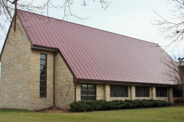 standing seam sheet metal roofing colonial red maroon dark commercial church wisconsin minnesota illinois iowa north dakota culpitt