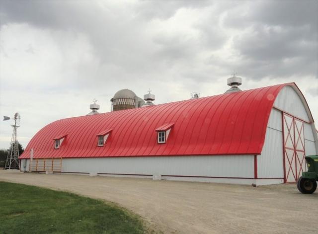 double lock standing seam sheet metal roofing regal red gothic agricultural barn culpitt wisconsin iowa illinois minnesota north dakota