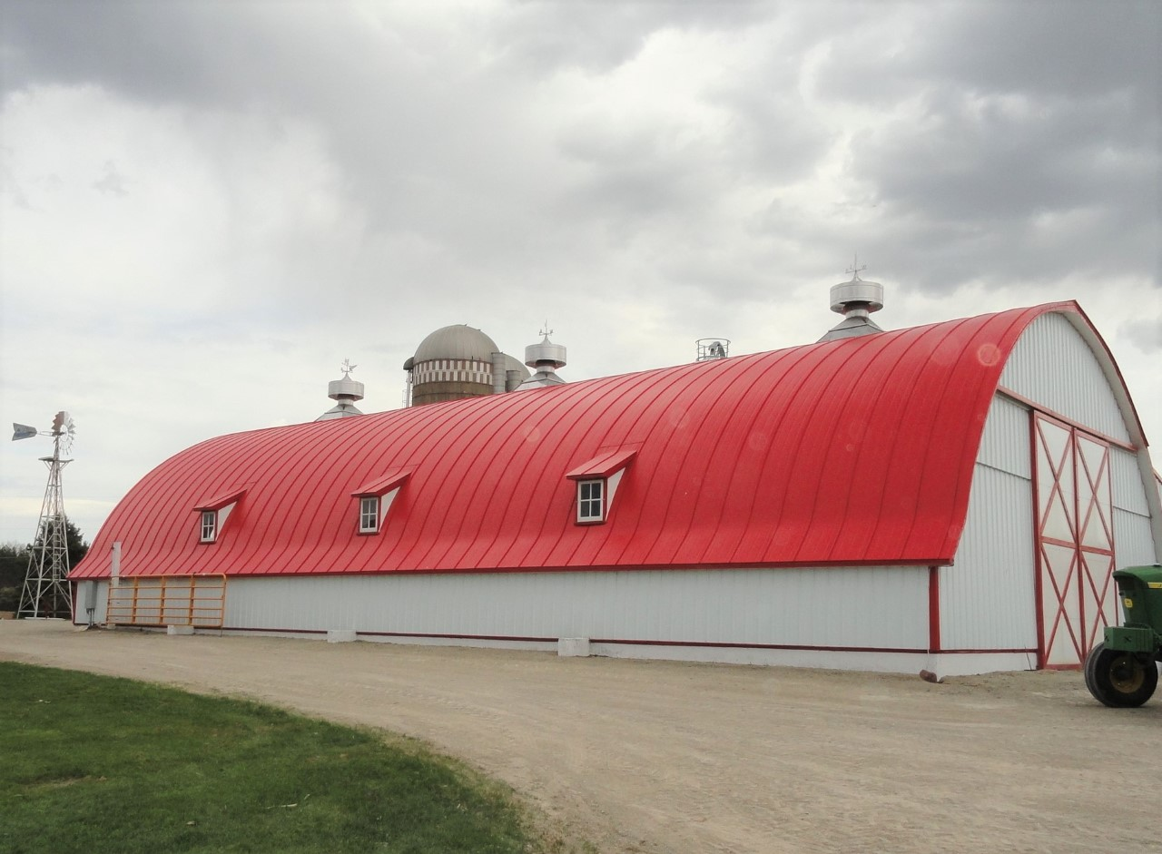 double lock standing seam sheet metal roofing regal red gothic agricultural barn culpitt wisconsin iowa illinois minnesota north dakota