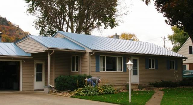 standing seam metal roofing sky blue