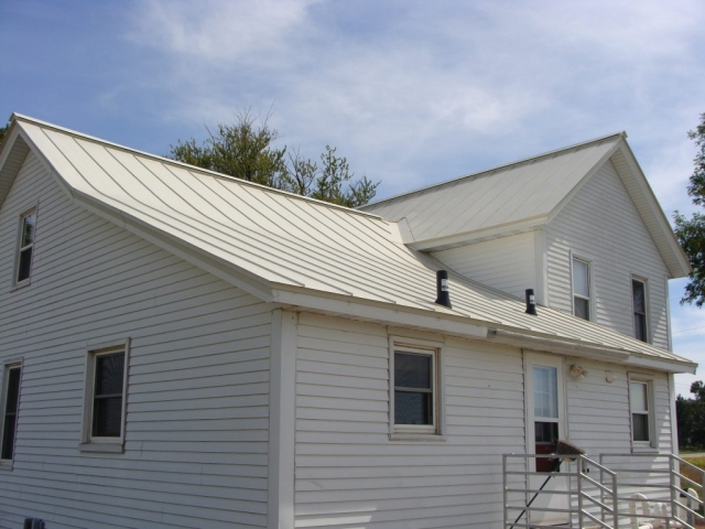 white standing seam metal roofing