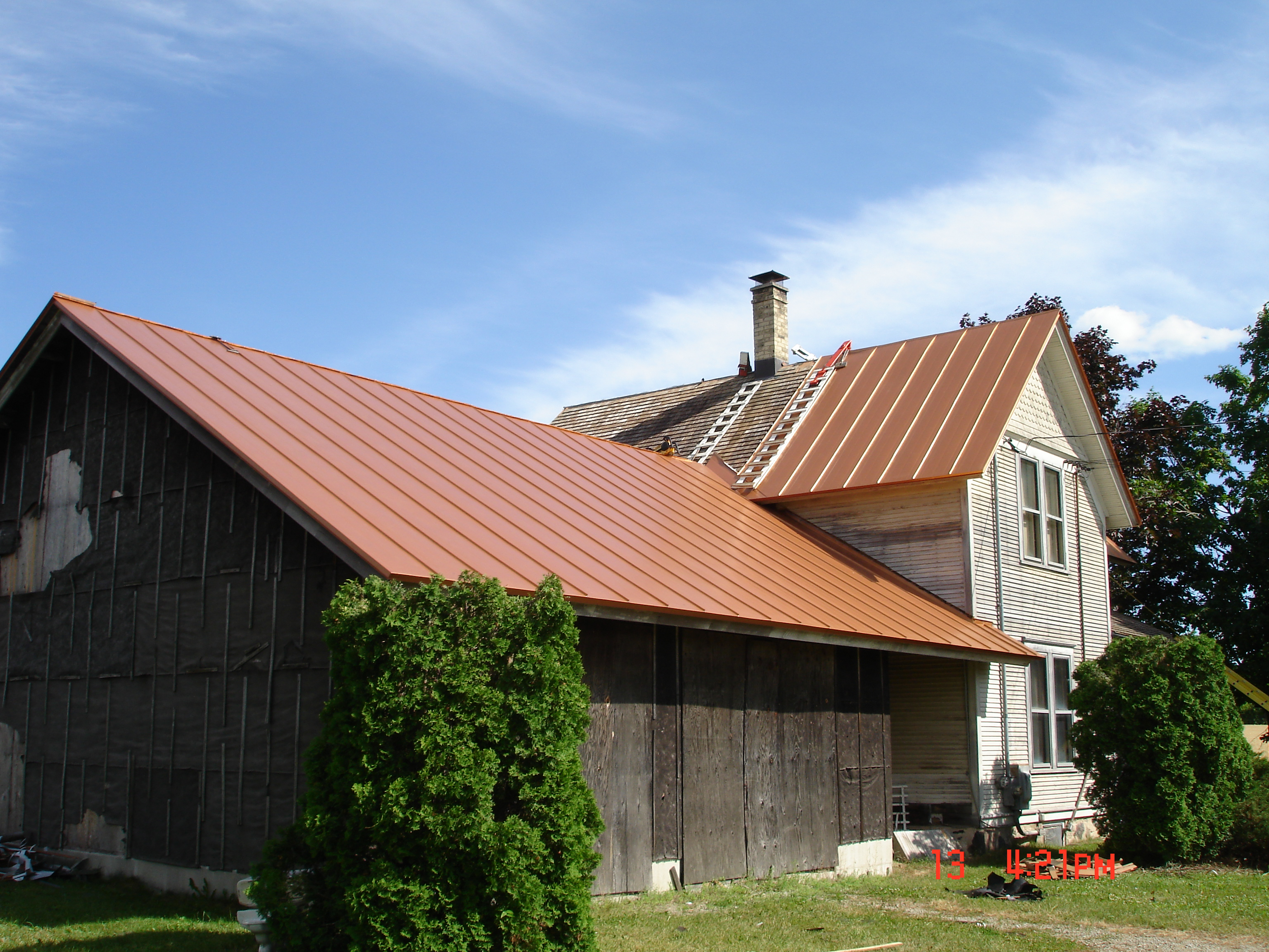 Metal roofing standing seam copper