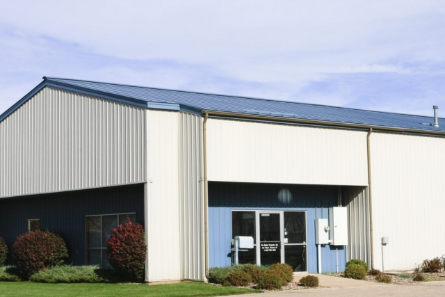 Standing seam sheet metal roofing commercial regal blue wisconsin minnesota iowa illinois north dakota