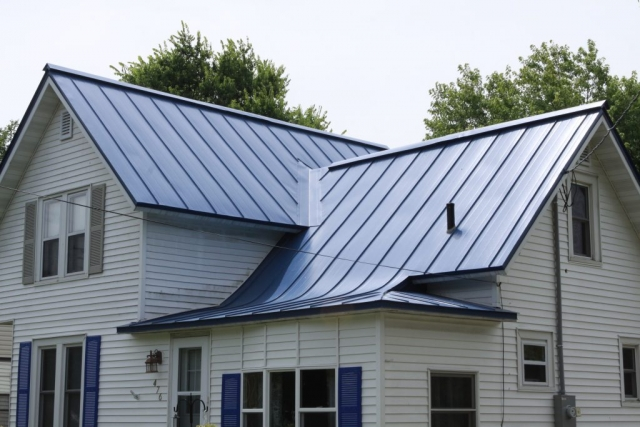 standing seam metal roofing blue